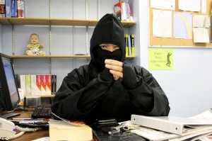 Eek! Scary ninja!